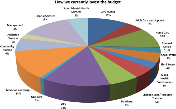 Pie chart showing breakdown of health and social care budget